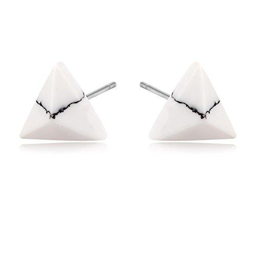 MANZHEN Punk Simple Geometric Marble Stone Earrings Black White Howlite Stud Earrings Triangle Stud (White Howlite)
