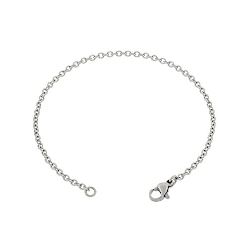 Cable Large Oval (Women's Thin 2mm Cable Chain Anklet, Silver Stainless Steel, 7-14 inches (10 Inches))