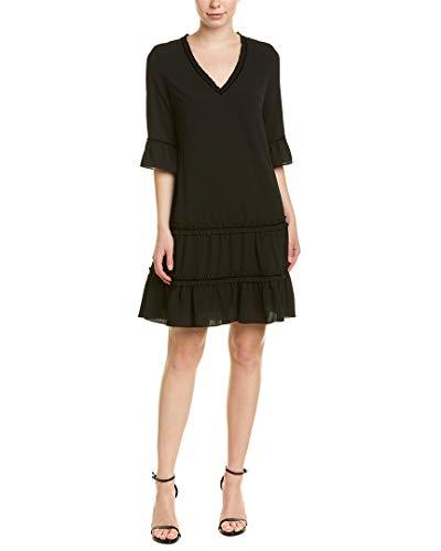 Adrianna Papell Women's 3/4 Sleeve Pebble Stretch Chiffon Trapeze Dress, Black, 4 ()