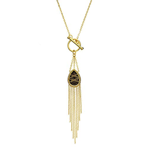 (18KT Gold Over Sterling Silver Hand Wrapped Drape Chain Toggle Hanging Teardrop Smoky Quartz Stone Pendant)