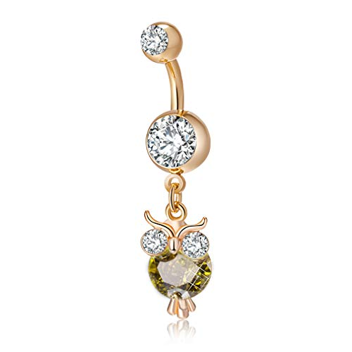 CEYIYA Animal Belly Button Ring - Surgical Steel Dangle Navel Rings 18k Gold/White Gold Plated Ideal Gift for Women/Men/Girls,Belly Piercing Jewelry
