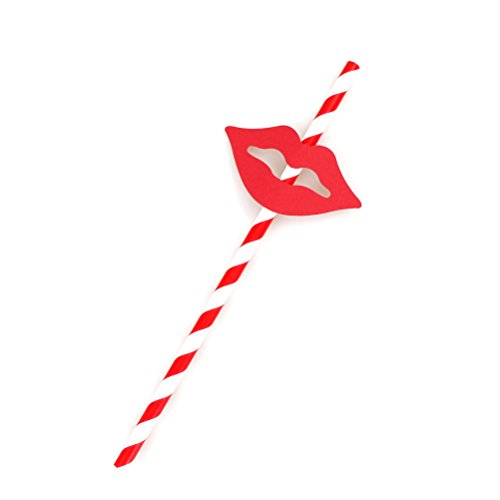 (40 Pcs Striped Beard Lips Sticker Paper Drinking Straws For Wedding Party Festive Supplies Decoration BY)