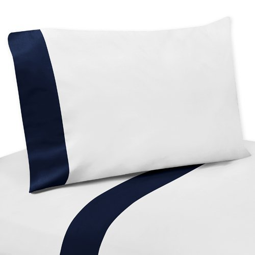 Sweet Jojo Designs 4-Piece Queen Sheet Set for Anchors Away Nautical Navy and White Bedding Collection