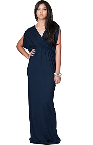 KOH KOH Womens Long Sexy Grecian Short Sleeve Summer Empire Bridesmaid Bridesmaids Wedding Guest Casual Party Evening Sundress Gown Gowns Maxi Dress Dresses, Navy Blue L 12-14 (1) -