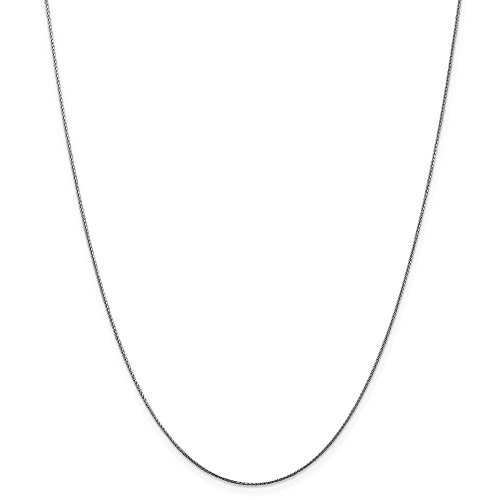 14k Gold Diamond-Cut Wheat Chain Necklace with Lobster Clasp (0.5mm) - White-Gold, 18 ()
