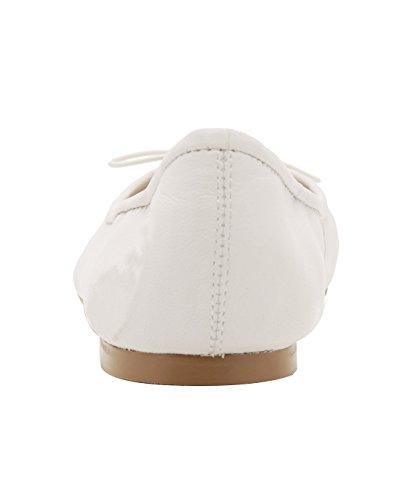 Guoar Womens Bowknot Ballerine Comfort Punta Rotonda Scarpe Casual Tacco Basso Pompe Bianche