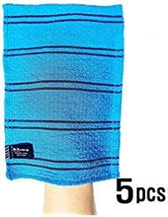 (Songwol Korean Exfoliating Towel Large Viscos Bath WashCloth Scrub Gloves 5 pcs – Blue)