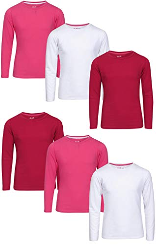 Price comparison product image dELiAs Girls\' Long Sleeve Crew Neck T-Shirts, White/Pink/Raspberry, Size 6X'