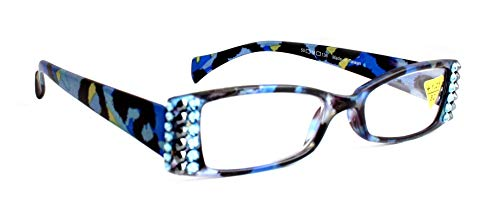 Leopard Rectangular Chic Women Reading Glasses With SWAROVSKI Crystals +1.50, 2.00, 2.50, 3.00 Blue/Pink / Black