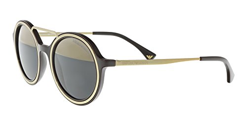 Armani EA4062 Sunglasses 54631Z-49 - Brown/Pale Gold Frame, Grey Mirror - Armani Gold Sunglasses