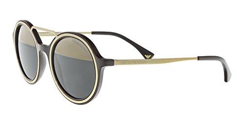 Armani EA4062 Sunglasses 54631Z-49 - Brown/Pale Gold Frame, Grey Mirror - Armani Sunglasses Gold