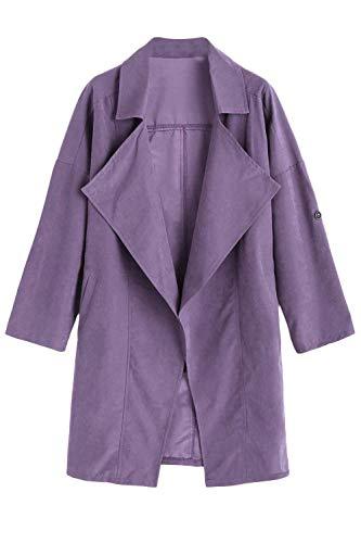 Primaverile Casuali Lunga Outerwear Bavero Especial Giacca Purple Baggy Colore Trench Cappotto Donna Eleganti Puro Autunno Estilo Windbreaker Manica zqxBwHq