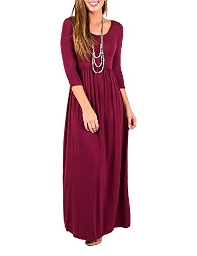 (DUNEA Women's Maxi Dress Floral Printed Autumn 3/4 Sleeve Casual Tunic Long Maxi Dress (Large, Wine Red))