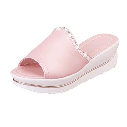 Indexp Women Bling Thick Bottom Fish Head Slippers, Shake Wedges Shoes (3/36, Pink)