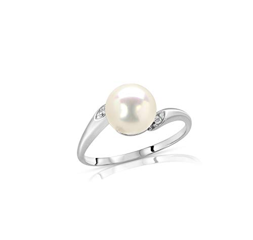 Regalia White Akoya Cultured Pearl Ring in 14K White Gold with .02ct ()