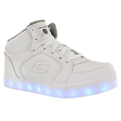 Skechers Unisex Energy Lights Light Up High Top Sneaker White 3 Medium US (Skechers Girl Shoes Light Up)