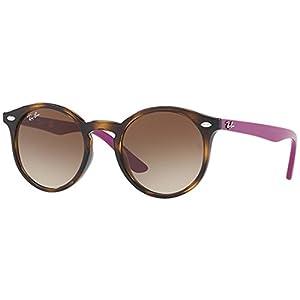 Ray-Ban Junior Kids' Plastic Unisex Round Sunglasses, Havana, 44 mm