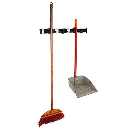 Wall Mounted 4 Positions Kitchen Storage Mop Organizer Holder Brush Broom H Y8W6