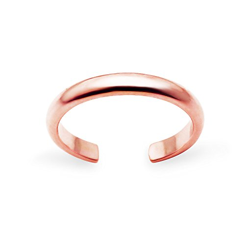 Rose Gold Flashed Sterling Silver High Polished Plain Simple Adjustable Toe Ring