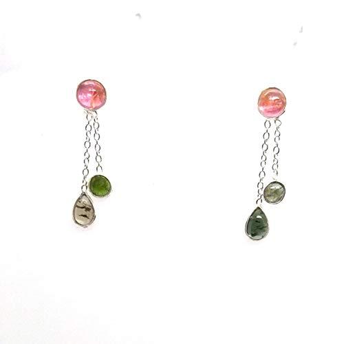Earrings Color Tourmaline Multi - 925 Sterling Silver Pear Multi-Color Tourmaline Dangle/Drop Earrings For Women