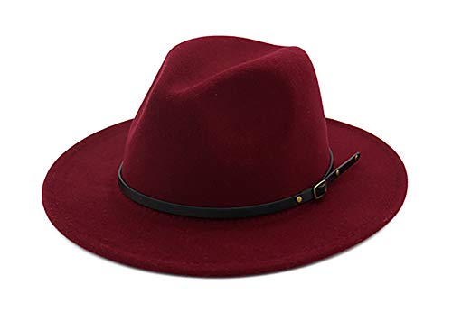(EachEver Women's Woolen Wide Brim Fedora Hat Classic Jazz Cap with Belt Buckle Wine Red)