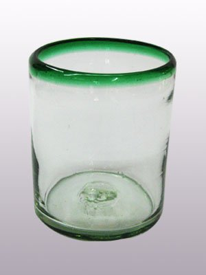 - Mexican Blown Glass Tumblers Emerald Green Rim (Set of 6)