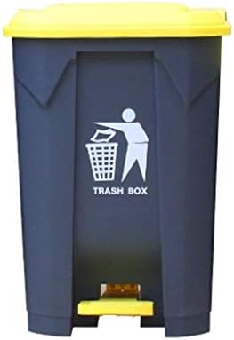 Ffjjdls ゴミ箱大型屋外ペダル型プラスチックゴミ箱プロパティ商業衛生ボックスキッチン家庭用カバー肥厚 (Color : Yellow, Size : 80L)