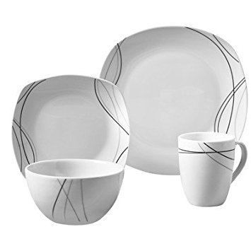 (Tabletops Gallery Alec - 16 Piece Square Dinnerware Set, Service for 4)