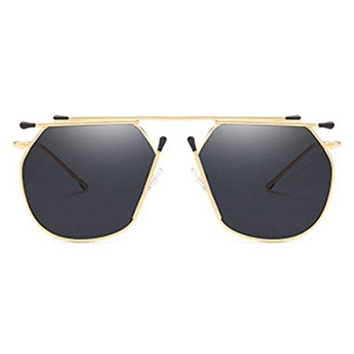 Sunglasses Mujeres Sunglasses Lente Metal Fashion Inlefen Negro Redondo Cateye Ladies Irregular Dorado para x1g0vxqYw