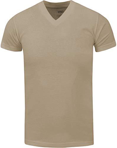 VNS20_M Active Mens Premium Cotton Heavy Weight V Neck Basic T Shirt Khaki M