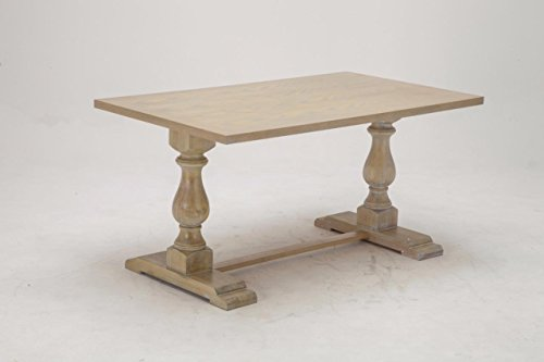 Antique like Distressed Styled Rectangular Dining Table Pedestal Leg Rectangular Pedestal Dining Table