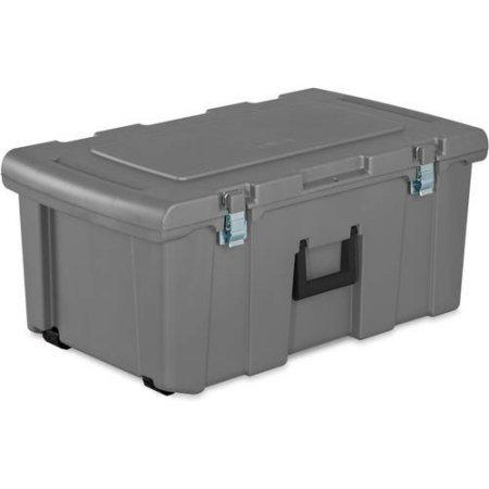 [Sterilite Footlocker Storage with Rolling Wheels, Multiple Colors - Titanium] (Ww2 Navy Uniforms)