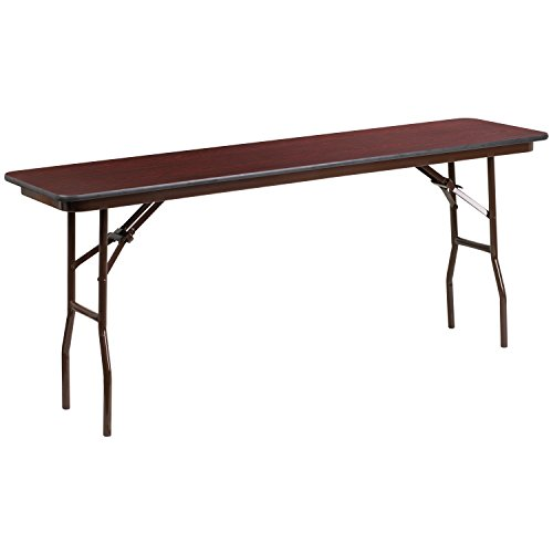 - Flash Furniture 18'' x 72'' Rectangular High Pressure Mahogany Laminate Folding Training Table