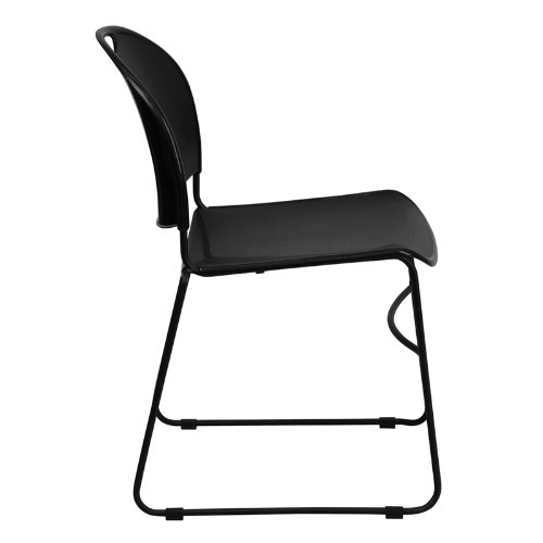 Flash Furniture 4 Pk. HERCULES Series 880 lb. Capacity Black Ultra Compact Stack Chair with Black Frame
