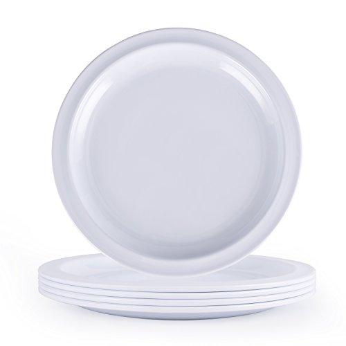 Melamine Dinnerware Set Hware-10Inch Every Use Dinner Plates, White, Set of 4,