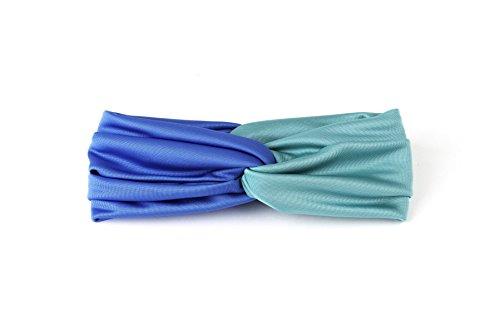 Headband, Headwrap, Turban, Twisted, Criss Cross, Blue, Water Green, Twisted, Viscose, Women, One size