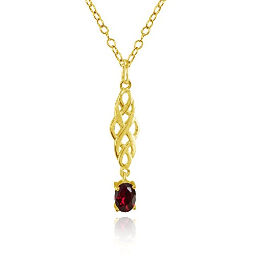 Yellow Gold Flashed Sterling Silver Created Ruby Oval Celtic Knot Dangling Drop Necklace (Gold Ruby Oval Necklace)