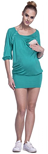 Happy Mama Para Mujer Lactancia Túnica Vestido Mini Cuello Redondo Premamá. 204p Verde Azulado