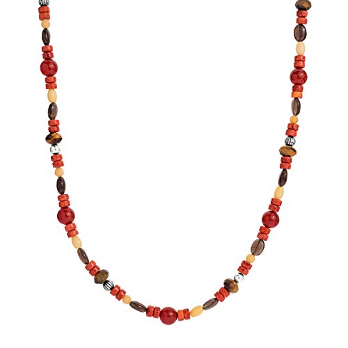 American West Sterling Silver Carnelian, Coral, Jasper, Tiger Eye Beaded Necklace 24 to 26 Inch