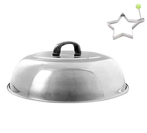"""ZHOUWHJJ BBQ Stainless Steel 12"""" Round Basting Cover/Cheese Melting Dome/Steaming Cover and Egg Ring, Best for Flat Top Griddle Grill and Other Grills, Smokers"""