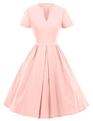 GownTown 1950s Vintage Dresses V-neck Short-sleeves Dresses Swing Stretchy Dresses, Small, Pink -