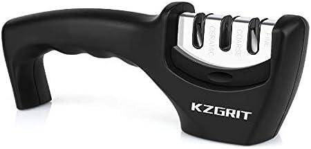 KZGRIT Afilador de Cuchillos, Ayuda a Reparar, Restaurar y Pulir Cuchillas, Afiladores Manuales Profesional de 3 Etapas con Mango Ergonómico & Base Antideslizante (Negro)