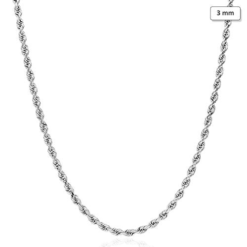 """14K Solid White Gold 3mm Diamond Cut Rope Chain Necklace 16""""-30"""""""