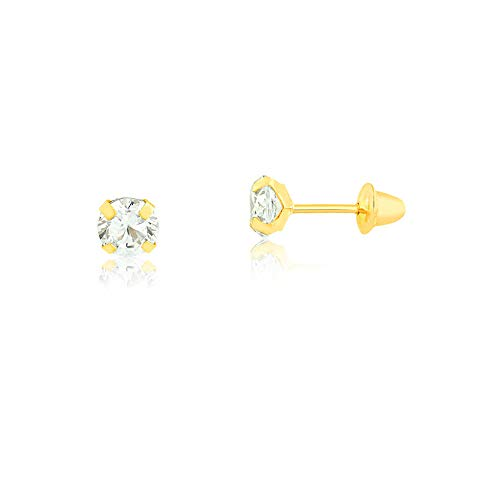 18k Golden Earrings - Carol Jewelry 18k Yellow Gold Synthetic White Cubic Zirconia Safety Stopper Stud Earrings for Babies, Girls, and Infants (3.0, Cubic-Zirconia)