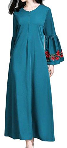 Les Femmes Domple Musulman Broderie Imprimé À Manches Longues Abaya Partie Lâche Vert Robe Longue
