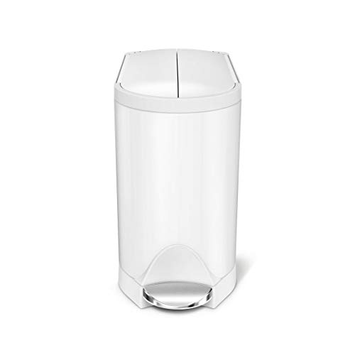 simplehuman 10 Liter / 2.6 Gallon Butterfly Lid Bathroom Step Trash Can, White - Step White Garbage Can