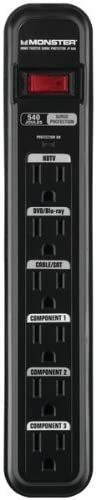 Monster 6 Outlet Surge Protector with 6 Ft. Power Cord and Outlet Cord Labels