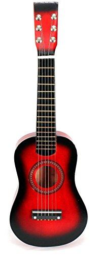 Acoustic Classic Rock 'N' Roll 6 Stringed Toy Guitar Musical Instrument w/ Guitar Pick, Extra Guitar String (Red) by Velocity Toys