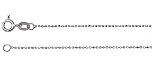 14k White Gold Rhodium-Plated 1.00mm Solid Diamond-Cut Bead Chain, 24'' by The Men's Jewelry Store (for HER)