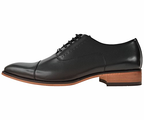1edbcba1 Amali Mens Black Smooth Cap Toe Oxford Dress Shoe with Wood ...